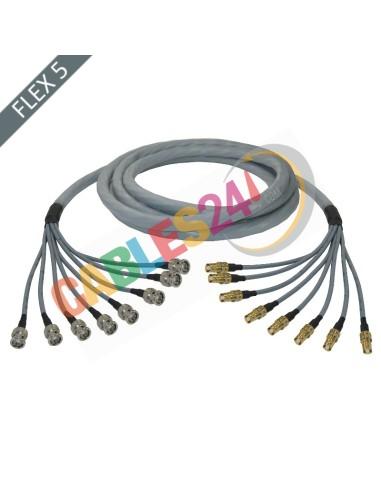 Manguera cable multi-coaxial 75 Ohmios 8 x Flex 5 Siemens DIN 1.6/5.6 Hembra a BNC Macho