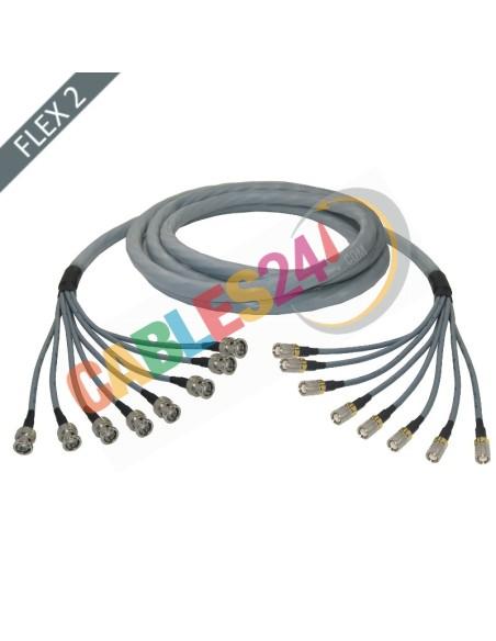 Manguera cable multi-coaxial 75 Ohmios 8 x Flex 2 Siemens DIN 1.6/5.6 Macho a BNC Macho