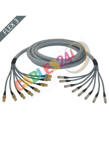 Manguera cable multi-coaxial 75 Ohmios 8 x Flex 3 Siemens DIN 1.6/5.6 Hembra a 1.0/2.3 Macho