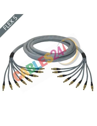 Manguera cable multi-coaxial 75 Ohmios 8 x Flex 5 Siemens DIN 1.0/2.3 Hembra-Hembra