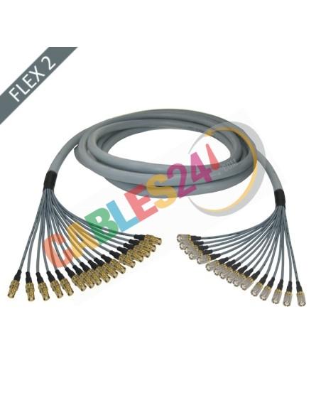 Manguera cable multi-coaxial 75 Ohmios 16 x Flex 2 Siemens DIN 1.6/5.6 Macho-Hembra