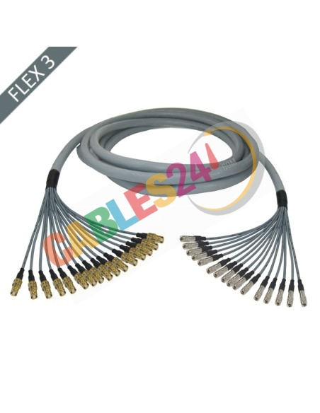 Manguera cable multi-coaxial 75 Ohmios 16 x Flex 3 Siemens DIN 1.6/5.6 Hembra a 1.0/2.3 Macho