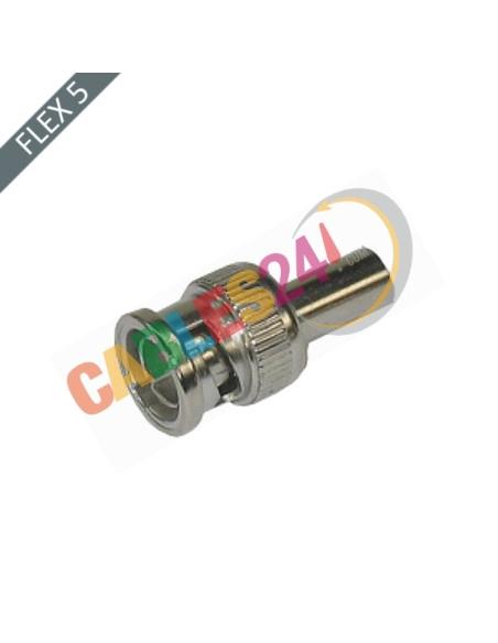 Conector BNC Macho 75 Ohm recto crimpar Flex5/75