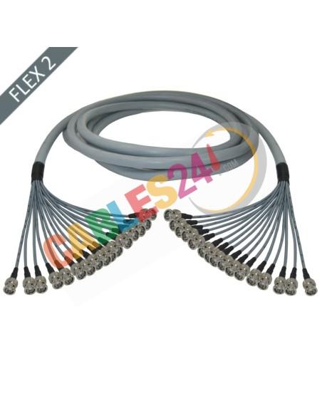 Manguera cable multi-coaxial 75 Ohmios 16 x Flex 2 BNC Macho a BNC Macho