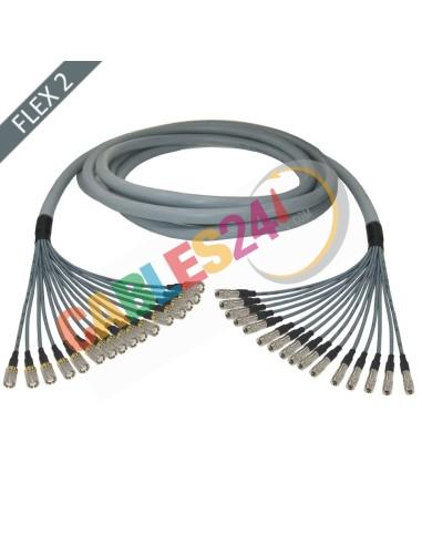 Manguera cable multi-coaxial 75 Ohmios 16 x Flex 2 Siemens DIN 1.6/5.6 Macho a 1.0/2.3 Macho