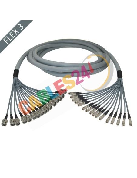 Manguera cable multi-coaxial 75 Ohmios 16 x Flex 3 BNC Macho a Siemens DIN 1.0/2.3 Macho