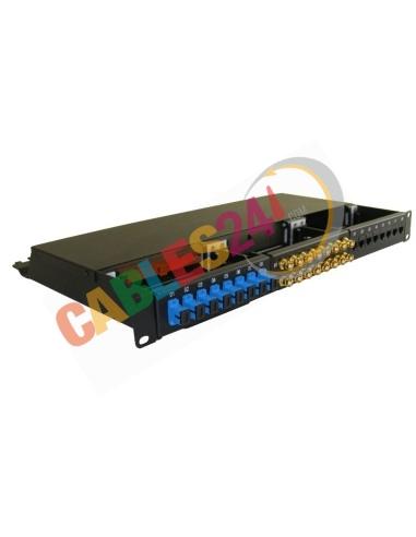 Panel 19 pulgadas 1U Hibrido Ethernet Cat6, coaxial y Fibra Óptica SC