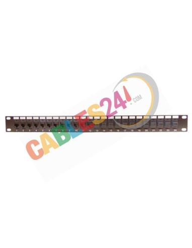 Panel 19 pulgadas 24 tomas hibrido RJ45 CAT6 y Fibra óptica con guía de cables