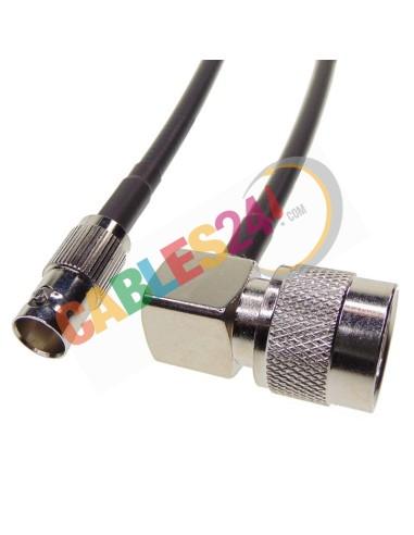 Cable RG223 BNC Hembra a Tipo N macho acodado