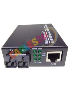 Conversor de medio Ethernet 10/100/1000M a Fibra monomodo SC 20Km